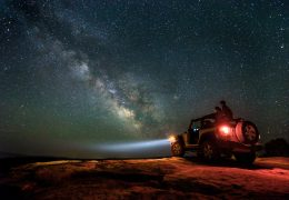 JJ Yosh stargazing in Moab Utah for Canon